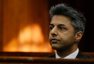 British businessman Shrien Dewani appears in the high court in Cape Town,  South Africa Monday, Oct. 6, 2014. Dewani faces charges of orchestrating the killing of his wife Anni Dewani, while on honeymoon in the country four years ago. (AP Photo/Mike Hutchings, Pool)