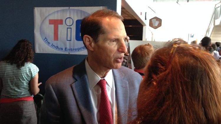 Sen. Ron Wyden (D-Ore.), who sits on the U.S. Senate Select Committee on Intelligence, called the meeting of tech leaders to discuss how U.S. mass surveillance programs have challenged tech innovation and global competitiveness. Above, Wyden attends an event in Portland in August. (Mike Rogoway/Associated Press)
