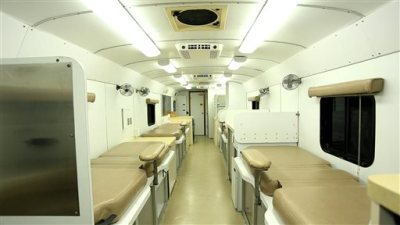 This Nov. 7, 2014, photo shows the inside a mobile donation unit at the Raleigh-Durham International Airport in Raleigh, N.C. The unit was headed to Africa for use in a study of blood plasma treatment for Ebola patients. (AP Photo/Trevor Jenkins)