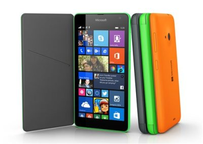 This product image provided by Microsoft shows the Lumia 535 smartphone. The phone is the first Lumia phone under the Microsoft brand name, as the software company dropped the Nokia brand. (AP Photo/Microsoft)