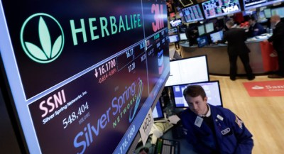 The company Herbalife at the New York Stock Exchange. (AP Photo)