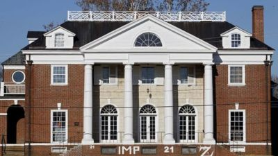 An exterior view of the Phi Kappa Psi fraternity house at the University of Virginia, in Charlottsville, Va., the site of an alleged sexual assault of a student revealed in a Rolling Stone article published Wednesday. (AP/Ryan M. Kelly, The Daily Progress)