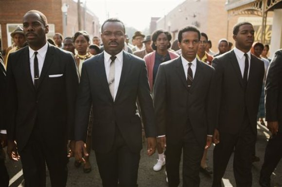 "This photo released by Paramount Pictures shows, from left, foreground: Colman Domingo as Ralph Abernathy, David Oyelowo as Dr. Martin Luther King, Jr., André Holland as Andrew Young, and Stephan James as John Lewis in a scene from the film, ""Selma,"" from Paramount Pictures, Pathé, and Harpo Films. (AP Photo/Paramount Pictures, Atsushi Nishijima)"
