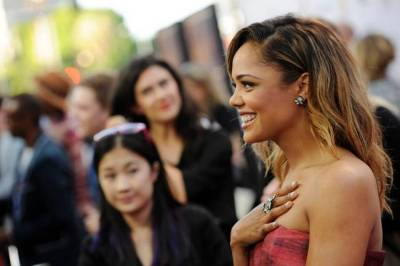 """Tessa Thompson, a cast member in """"Dear White People,"""" is interviewed at a screening of the film at the Los Angeles Film Festival on Wednesday, June 18, 2014 in Los Angeles. (Chris Pizzello/Invision/AP)"""