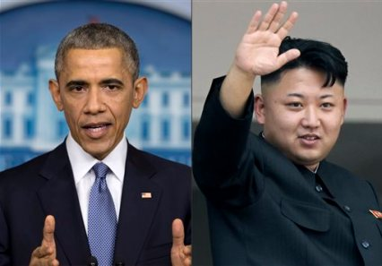"""This photo combination shows U.S. President Barack Obama, left, and North Korean leader Kim Jong Un. North Korea has compared Obama to a monkey and blamed the U.S. for shutting down its Internet amid the hacking row over the movie """"The Interview."""" (AP Photos)"""