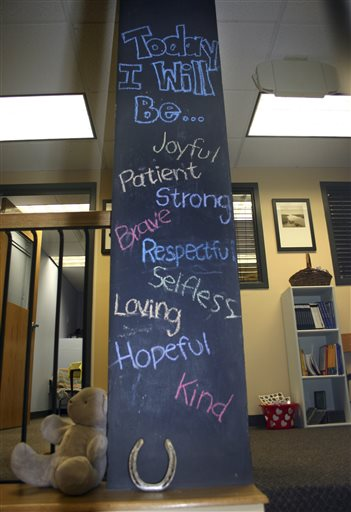 In this Sept. 23, 2014 photo provided by the Resiliency Center of Newtown, a chalk board painted column is displayed at the center in Newtown, Conn. Founded after the 2012 Sandy Hook Elementary shootings, the center offers the community mental and emotional health programs that include art, music and play therapy. (AP Photo/Resiliency Center of Newtown)