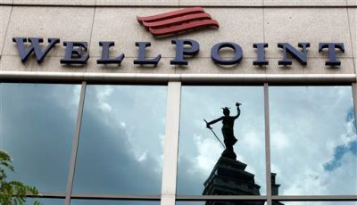This July 17, 2012, file photo, shows the corporate headquarters of WellPoint in Indianapolis. WellPoint Inc. reports quarterly financial results on Wednesday, Jan. 29, 2014. (AP Photo/Michael Conroy, File)