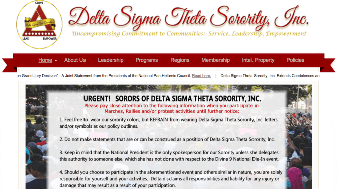 """The national organization of Delta Sigma Theta Sorority Inc. issued a directive to its members to """"refrain"""" from wearing sorority letters when participating in """"marches, rallies and/or protest activities."""" (DeltaSigmaTheta.org screenshot)"""