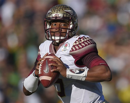Florida State quarterback Jameis Winston looks to throw during the first half of the Rose Bowl NCAA college football playoff semifinal against Oregon, Thursday, Jan. 1, 2015, in Pasadena, Calif. (AP Photo/Mark J. Terrill)