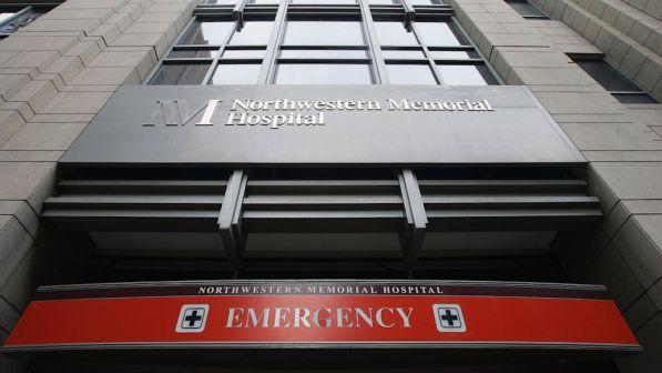 The emergency entrance at Northwestern Memorial Hospital in Chicago as seen on Nov. 16, 2007. Northwestern Memorial Hospital is the primary teaching hospital for Northwestern University Feinburg School of Medicine (Charles Rex Arbogast/AP Photo)