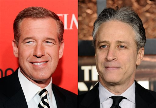 "This combination made from file photos shows NBC News' Brian Williams, left, and Comedy Central's ""The Daily Show"" host Jon Stewart. When the TV news anchor becomes the news, the result is major buzz and a possible hit on ratings. But such changes as Williams getting a six-month suspension and Stewart leaving ""The Daily Show"" won't make much of a difference to the networks' owners, at least in overall revenue. (AP Photo/Evan Agostini, Peter Kramer)"