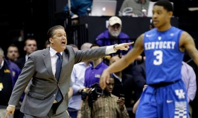 Kentucky head coach John Calipari calls out from the bench in the second half  half of an NCAA college basketball game against LSU in Baton Rouge, La., Tuesday, Feb. 10, 2015.  Kentucky won 71-69. (AP Photo/Gerald Herbert)