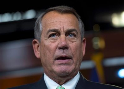 House Speaker John Boehner of Ohio speaks during a news conference on Capitol Hill in Washington, Thursday, Feb. 12, 2015. Boehner refused to rule out a potential shutdown at the Department of Homeland Security because of a congressional impasse over funding. (AP Photo/Molly Riley)