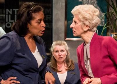 "Ora Jones, Tara Mallen and Lorraine Freund in Rivendell Theatre's ""Rasheeda Speaking"" by Joel Drake Johnson (Courtesy of Chicago Theater Beat)"