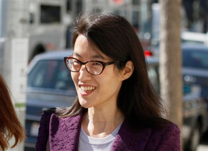 Ellen Pao leaves the Civic Center Courthouse during a lunch break in her trial Tuesday, Feb. 24, 2015, in San Francisco. Pau, the current interim chief of the news and social media site Reddit, is seeking $16 milion in her suit against prominent Silicon Valley venture capital firm Kleiner Perkins Caulfield and Byers, alleging she was sexually harassed by male officials. (AP Photo/Eric Risberg)
