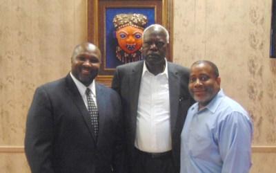 Jeffrey L. Boney, Bona Malwal and Raynard Jackson (Courtesy of Houston Forward-Times)