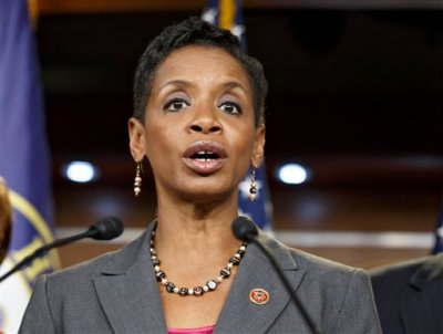 In this Nov. 17, 2014 file photo, Rep. Donna Edwards, D-Md. speaks on Capitol Hill in Washington. Edwards intends to join the race to replace retiring Sen. Barbara Mikulski, hoping to become the first African-American elected to the Senate from her state, according to officials familiar with her plans.   (AP Photo/J. Scott Applewhite, File)
