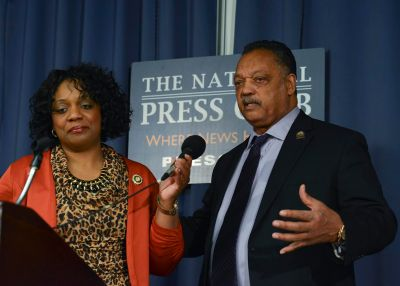 Alabama State Rep. Merika Coleman-Evans (D) and Jesse Jackson talk about voting rights at the National Press Club in Washington, D.C. (Freddie Allen/NNPA)