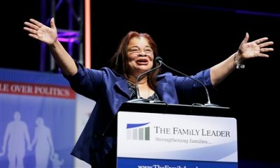 In this Aug. 9, 2014 file photo, Dr. Alveda King, niece of Dr. Martin Luther Kings, speaks during The Family Leadership Summit in Ames, Iowa. Fox News Channel says it has hired Alveda King, a niece of the late civil rights leader Martin Luther King Jr., as a commentator for the network. King, director of African-American Outreach at Priests for Life, is an anti-abortion activist who has clashed politically with some of her uncle's former associates. (AP Photo/Charlie Neibergall, File)