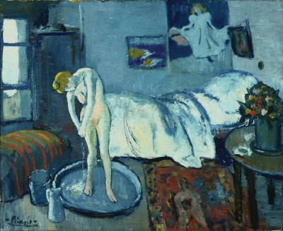 """Pablo Picasso's 1901 masterpiece, """"The Blue Room,"""" was apparently painted over a depiction of a bow-tied man with his face resting on his hand. (The Phillips Collection/AP Photo)"""