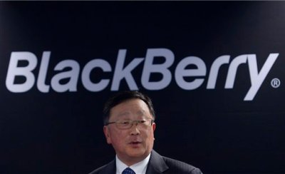 "Blackberry's Executive Chairman and CEO John Chen speaks during a presentation at the Mobile World Congress wireless show in Barcelona, Spain, Tuesday, March 3, 2015. BlackBerry will launch four new smartphones this year and a new package of cross-platform applications as it continues its ""philosophical"" shift to making software. (AP Photo/Manu Fernandez)"