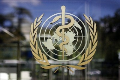 The logo of the World Health Organization is seen at the WHO headquarters in Geneva (AP Photo)