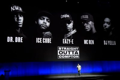 """F. Gary Gray, director of the upcoming drama """"Straight Outta Compton,"""" discusses the film onstage during the Universal Pictures presentation at CinemaCon 2015 at Caesars Palace on Thursday, April 23, 2015, in Las Vegas. (Photo by Chris Pizzello/Invision/AP)"""