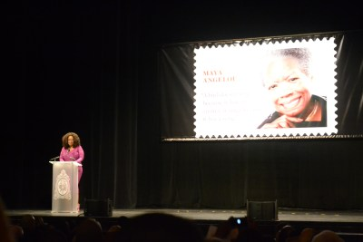 Oprah Winfrey speaks during the Maya Angelou commemorative stamp unveiling ceremony in Washington, D.C. (Jazelle Hunt/NNPA)