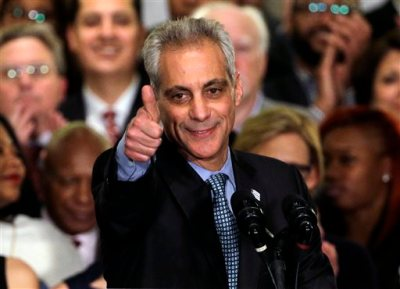 Chicago Mayor Rahm Emanuel celebrates a victorious election night at Plumbers Local 130 Union Hall, Tuesday, April 7, 2015, in Chicago. Emanuel won re-election Tuesday as voters in Chicago's first mayoral runoff decided that, despite his brusque management style, the former White House chief of staff was best equipped to deal with the dire financial challenges facing the nation's third-largest city. (AP Photo/Nam Y. Huh)