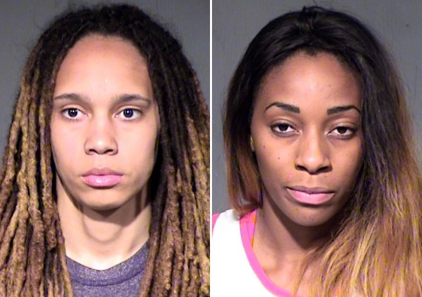WNBA players Brittney Griner, left, and Glory Johnson. The couple were arrested on suspicion of assault and disorderly conduct after a fight at their home in a Phoenix suburb. (Maricopa County Sheriff's Office via AP)