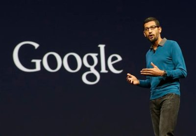 Sundar Pichai, senior vice president of Android, Chrome and Apps, speaks during the Google I/O 2015 keynote presentation in San Francisco, Thursday, May 28, 2015. (AP Photo/Jeff Chiu)