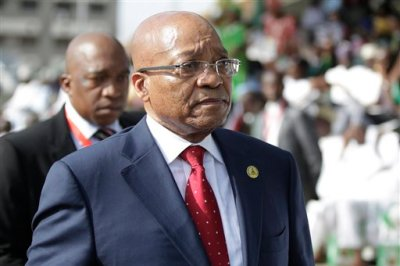 South Africa President Jacob Zuma arrives for the inauguration of the new Nigerian President, Muhammadu Buhari, in Abuja , Nigeria, Friday, May 29, 2015. Nigerians celebrated their newly reinforced democracy Friday, dancing and singing songs and praises at the inauguration of Muhammadu Buhari, the first candidate to beat a sitting president at the polls. (AP Photo/Sunday Alamba)