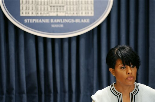 Mayor Stephanie Rawlings-Blake holds a news conference on Wednesday, May 6, 2015 in Baltimore.  The mayor called on U.S. government investigators to look into whether this city's beleaguered police department uses a pattern of excessive force or discriminatory policing. Rawlings-Blake's request came a day after new Attorney General Loretta Lynch visited the city and pledged to improve the police department.  (Kim Hairston/The Baltimore Sun via AP)  WASHINGTON EXAMINER OUT