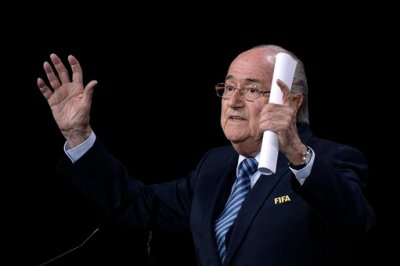 FIFA President Sepp Blatter speaks during the 65th FIFA Congress held at the Hallenstadion in Zurich, Switzerland, Friday, May 29, 2015, where he runs for re-election as FIFA head. (Walter Bieri/Keystone via AP)