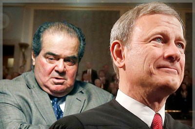 Justices Antonin Scalia, John Roberts (Credit: AP/Dave Tulis/Larry Downing/Photo montage by Salon)