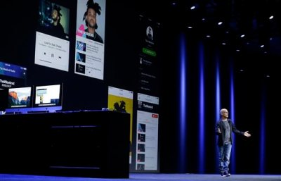 Beats co-founder and Apple employee Jimmy Iovine speaks at the Apple Worldwide Developers Conference in San Francisco, Monday, June 8, 2015. The maker of iPods and iPhones announced Apple Music, an app that combines Beats 1, a 24-hour, seven-day live radio station, with an on-demand music streaming service. (AP Photo/Jeff Chiu)