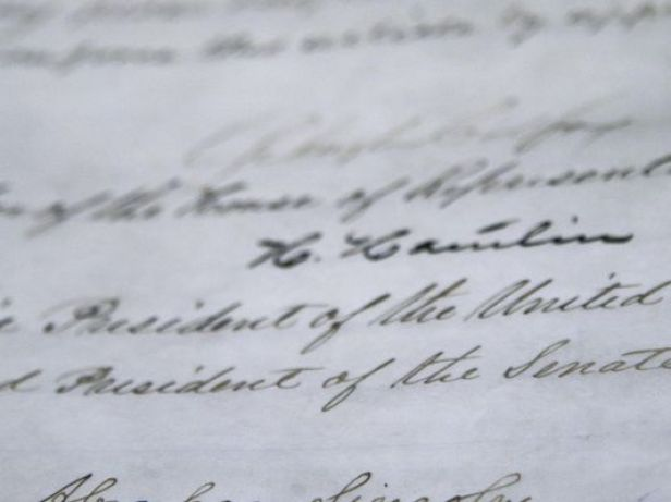 The signature of President Abraham Lincoln is seen on the 13th Amendment in a display at the Tennessee State Museum in this 2013 file photo in Nashville. The 13th Amendment abolished slavery. (Photo: AP)