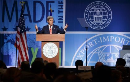 Secretary of State John Kerry addresses a gathering of the Export-Import Bank at the Omni-Shoreham Hotel in Washington, Thursday, April 24, 2014. (AP Photo)