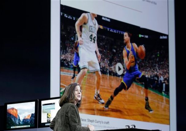 Susan Prescott, Apple vice president of Product Management and Marketing, speaks about its News app at the Apple Worldwide Developers Conference in San Francisco, Monday, June 8, 2015. (AP Photo/Jeff Chiu)