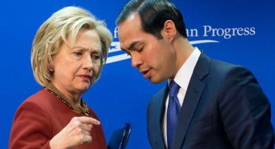 Former Secretary of State Hillary Rodham Clinton, left, talks with Housing and Urban Development Secretary (HUD) Julian Castro, right, after both spoke at an event hosted by the Center for American Progress (CAP) and the America Federation of State, County and Municipal Employees (AFSCME), Monday, March 23, 2015, in Washington. (AP Photo/Pablo Martinez Monsivais)