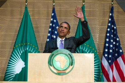 U.S. President Barack Obama waves as he arrives to deliver a speech to the African Union, Tuesday, July 28, 2015, in Addis Ababa, Ethiopia. On the final day of his African trip, Obama is focusing on economic opportunities and African security. (AP Photo/Evan Vucci)