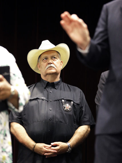 Sheriff R. Glenn Smith of Waller County during a news conference on Tuesday  in Prairie View, Tex. Credit Pat Sullivan/Associated Press