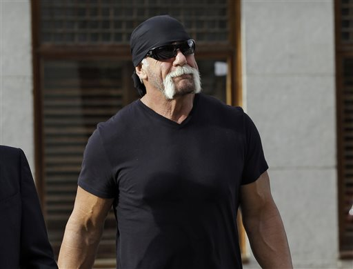 "In this Oct. 15, 2012 file photo, former professional wrestler Hulk Hogan, whose real name is Terry Bollea, arrives for a news conference at the United States Courthouse in Tampa, Fla. World Wrestling Entertainment Inc. has severed ties with Hogan. The company did not give a reason, but issued a statement Friday, July 24, 2015, saying it is ""committed to embracing and celebrating individuals from all backgrounds as demonstrated by the diversity of our employees, performers and fans worldwide.""  (AP Photo/Chris O'Meara, File)"