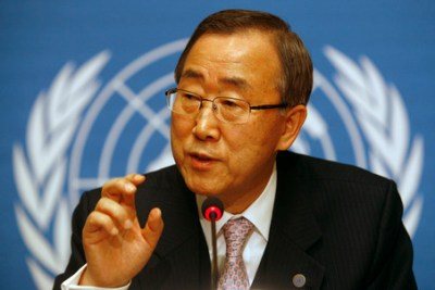 """U.N. Secretary-General Ban Ki-moon gestures during a press conference at the United Nations headquarters in Geneva, Switzerland Friday, Dec. 12, 2008. Ban says the latest """"very sobering"""" assessment of the World Bank underscores the world's economic problems. The world should act with great urgency and compassion to ease economic distress. (AP Photo/Anja Niedringhaus)"""