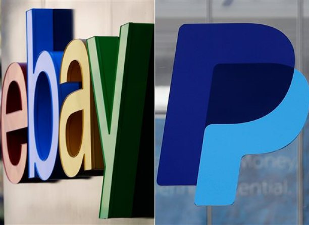 This photo combination shows logos for eBay, left, and PayPal, outside the companies' corporate headquarters in San Jose, Calif. When eBay and PayPal split up on Friday, July 17, 2015, they'll face different challenges than they did as a combined company. (AP Photo/Marcio Jose Sanchez, Jeff Chiu)