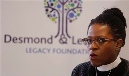 Daughter of South Africa's archbishop Desmond Tutu, Reverend Mpho Tutu, speak to media during a press briefing in  Cape Town, South Africa,  Thursday, July 17, 2015. It is time for 83-year old retired archbishop Desmond Tutu to begin saying no to public events and causes, his daughter said Thursday, after the Nobel laureate was hospitalized for a persistent infection. (AP Photo/Schalk van Zuydam)