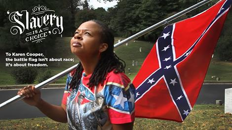 Karen Cooper with Confederate Flag