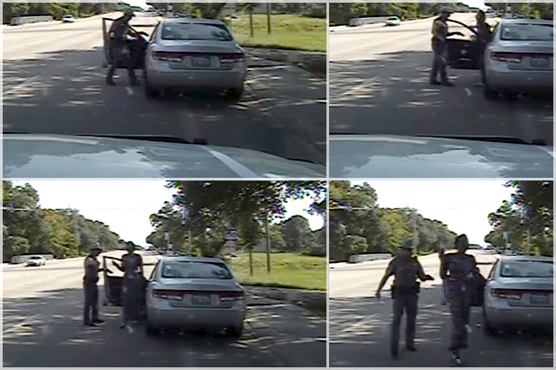 Still image of a Waller County Department of Public Safety officer pointing a Taser as seen from the police dash camera video from the traffic stop of Sandra Bland's vehicle in Prairie View