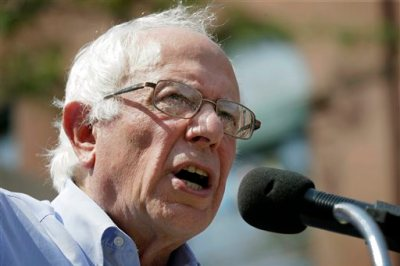 Democratic presidential candidate, Sen. Bernie Sanders, I-Vt., speaks during the opening of his Cedar Rapids field headquarters, Sunday, Aug. 16, 2015, in Marion, Iowa. (AP Photo/Charlie Neibergall)