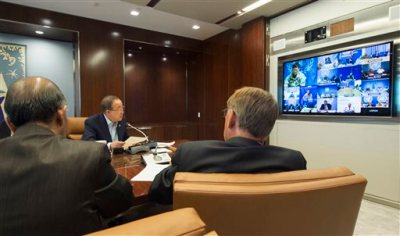 In this  Aug. 13, 2015 file photo provided by the United Nations, U.N. Secretary General Ban Ki-moon, center, speaks with U.N. Special Representatives, Force Commanders and Police Commissioners in all U.N. peacekeeping operations during a video conference at U.N. headquarters. Widespread relief greeted the resignation of Babacar Gaye, the head of the peacekeeping mission in Central Africa Republic, over the force's handling of dozens of misconduct allegations, including rape and killing. Stretched for resources with a record number of peacekeepers in the field, the U.N. has hesitated to upset member states by announcing the countries whose troops or police are accused of wrongdoing, until now. Last week, Ban announced his intention to do so. (Eskinder Debebe/United Nations via AP, File)